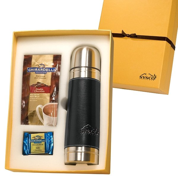 Thermos and hot chocolate gift set.