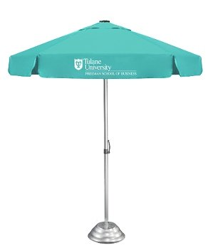 Patio umbrella with marketing logo