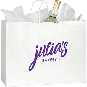 Shopper Custom Printed White Kraft Paper Bags Image 2