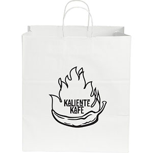 Large Custom Printed White Kraft Paper Bags Image 2