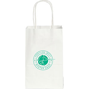 Mini Custom Printed White Kraft Paper Bags Image 2