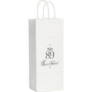 Wine Custom Printed White Kraft Paper Bags