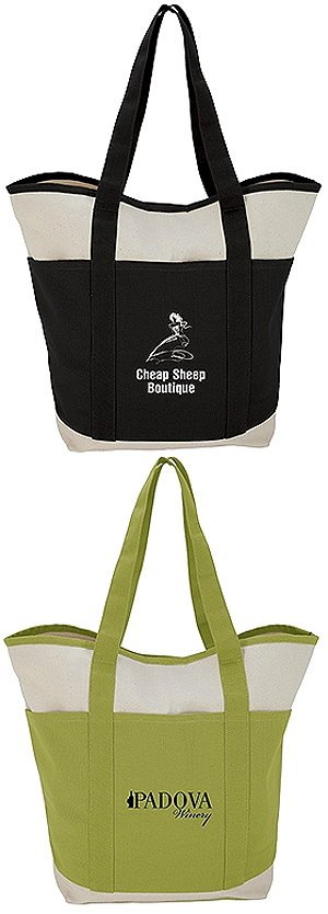 Two-Tone Tote Natural Cotton Canvas. Unique Promotional Bag Image 2