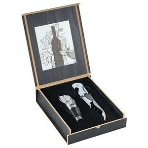 2 Piece Wine Opener and Pourer Ensemble. Corporate Gift Idea Image 2