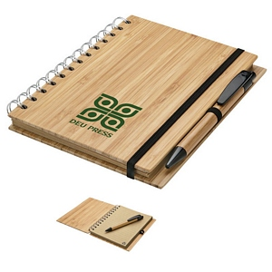 Bamboo Spiral Notebook and Pen -Custom Journal Set
