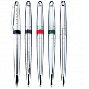 Chrome Ballpoint Pens w/ Accent Color