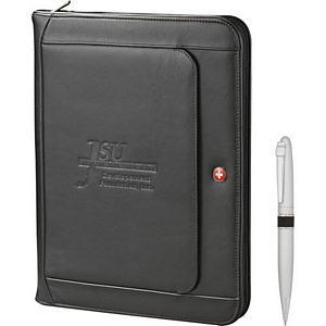 Wenger Exec Leather Zippered Padfolio Pen Set
