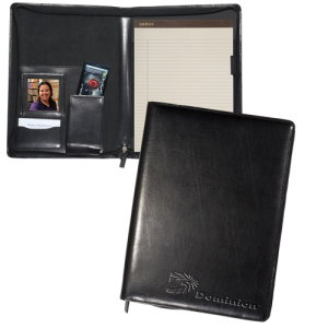 Cowhide Leather Zippered Magnetic Photo Padfolio - Corporate