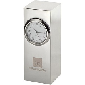 Silver Plated Column Clock