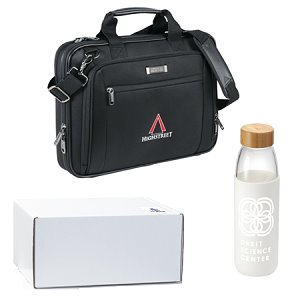 Laptop Bag and Glass Water Bottle