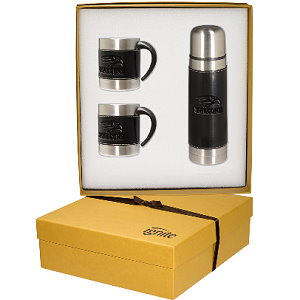 Leather-Stainless Coffee Cup Thermos Set
