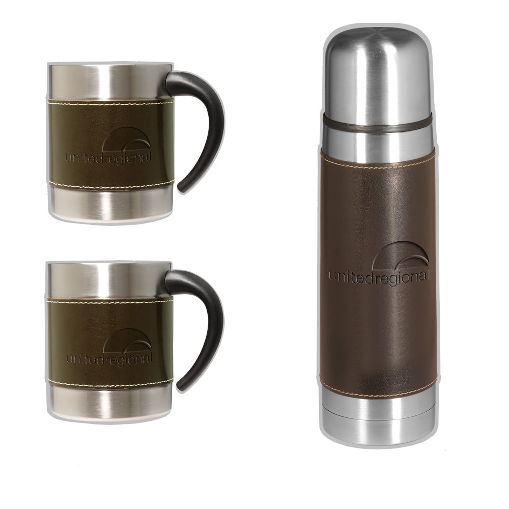 Leather-Stainless Coffee Cup Thermos Set Image 2