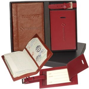 Top Grain Leather Passport & Luggage Tag Set Image 2