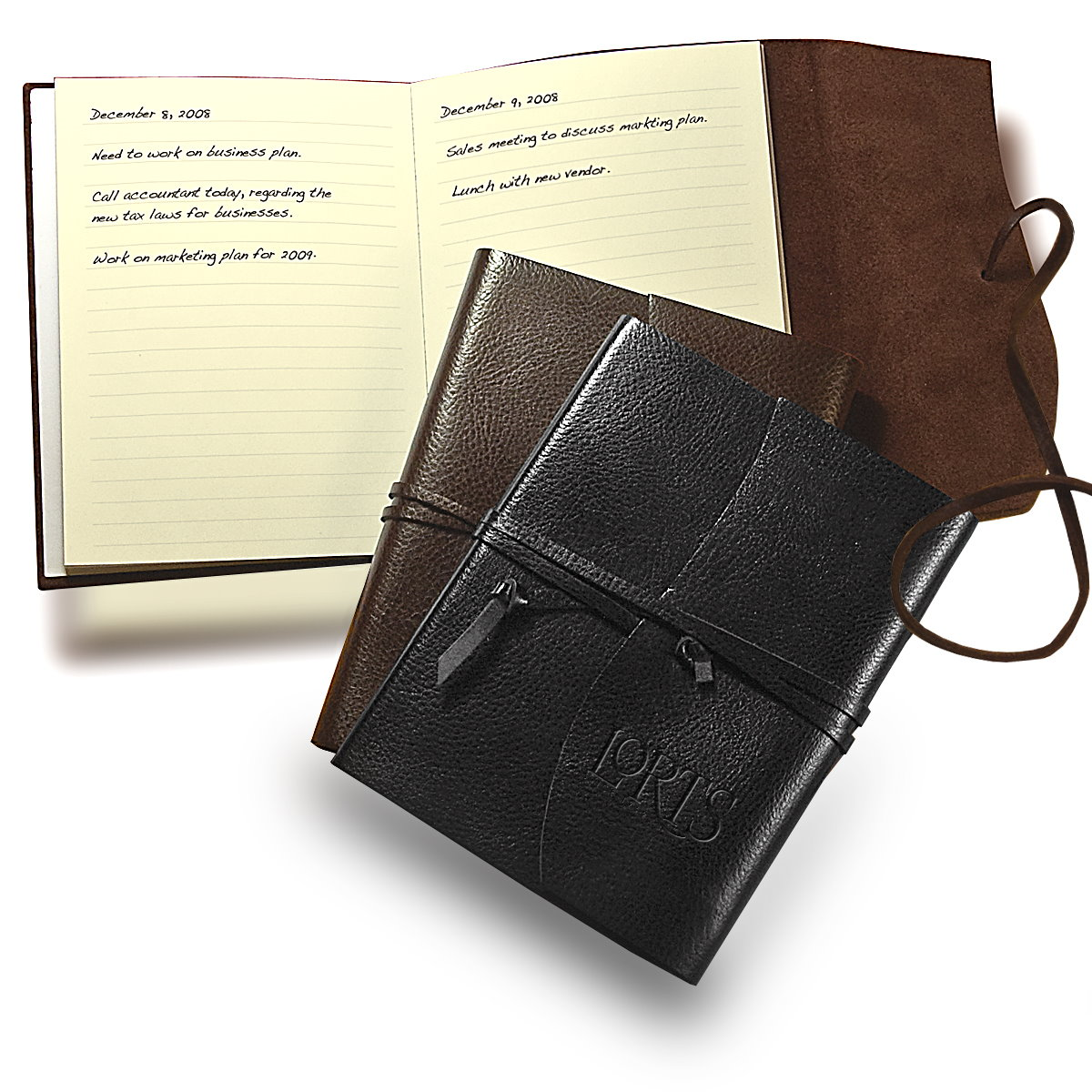 Chocolates Leather Wrapped Journal Gift Set Image 2