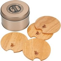 Bullware Wood Coaster Sets with Storage Tin