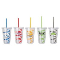 Colored Curly Straw Tumbler