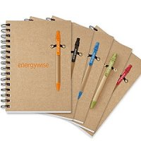 6x9 Spiral 100% Recycled Notebook Pen Set - Eco Friendly