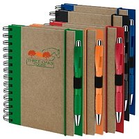 5x7 Custom Recycled Spiral Notebook Pen Set - Corporate Gift