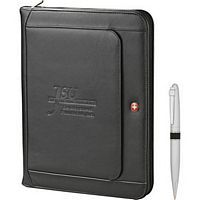 Wenger Exec Leather Zippered Padfolio / Pen Set