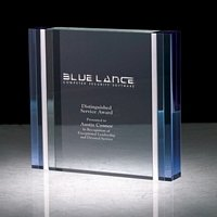 6 Tall Blue and Aluminum Edged Rectangle Crystal Award
