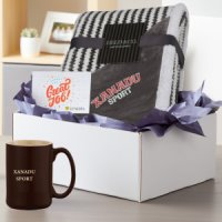 Striped Embroidered Sherpa Blanket and Etched Mug