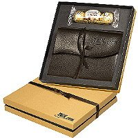 Chocolates & Leather Wrapped Journal Gift Set -Thank Clients