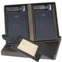 Two Leather Luggage Tag Set